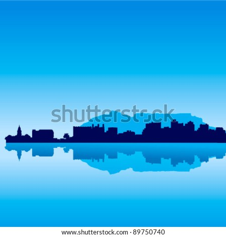 Detailed vector Cape Town skyline with Table Mountain - stock vector