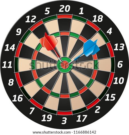 detailed vector Dartboard with blue and red dart Stockfoto ©