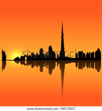 Detailed vector Dubai silhouette skyline