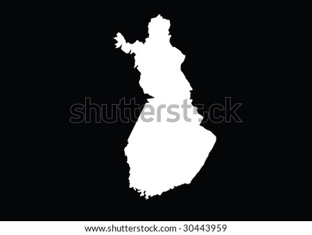 Detailed vector Finland map with border lines