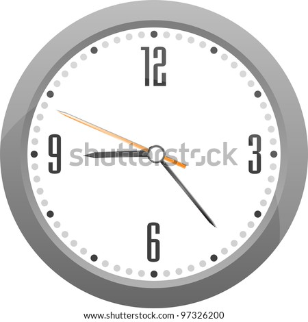 detailed vector gray clock isolated on white