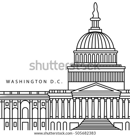 Detailed Vector Icon of Capitol, Washington, United States. USA symbol in outline style. Close up view. Concept for independence day, Presidents day for elections to US government.