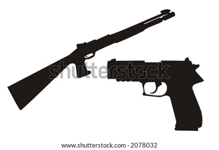 detailed vector illustration of a gun and a rifle