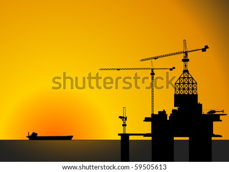 detailed vector illustration of an oil rig with sunset and ship