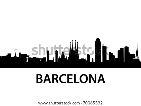 detailed vector illustration of Barcelona, Spain