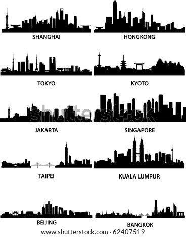 detailed vector illustration of different asian cities - stock vector