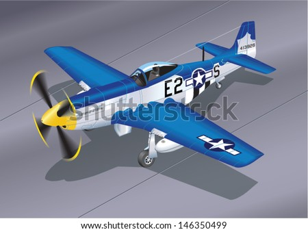 Detailed Vector Illustration of P-51 Mustang 'Easy 2 Sugar' Fighter Plane