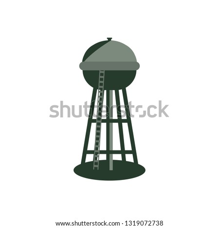 Detailed vector illustration pictogram of a water tower