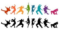 Detailed vector illustration silhouettes of expressive dance people dancing. Jazz funk, hip-hop, house dance lettering. Dancer.