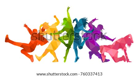 Detailed vector illustration silhouettes of expressive dance people dancing. Jazz funk, hip-hop, house dance lettering. Dancer.