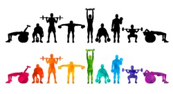 Detailed vector illustration silhouettes  strong rolling people set girl and man sport fitness gym body-building workout powerlifting health training dumbbells barbell. Healthy lifestyle.