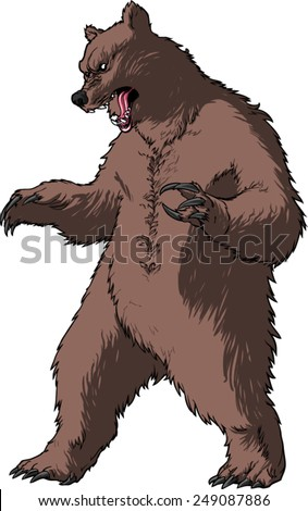 Royalty-free Grizzly bear,rearing angry pose,front ...