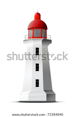 Detailed vector lighthouse isolated on white