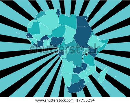 Detailed vector map of africa with country borders and starburst background in blue