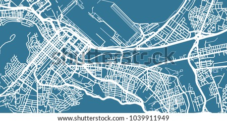 Detailed vector map of Cape Town, scale 1:30 000, South Africa