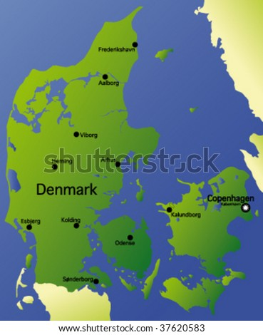 detailed vector map of denmark