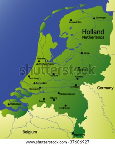 detailed vector map of holland / netherlands