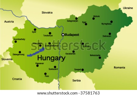 detailed vector map of hungary