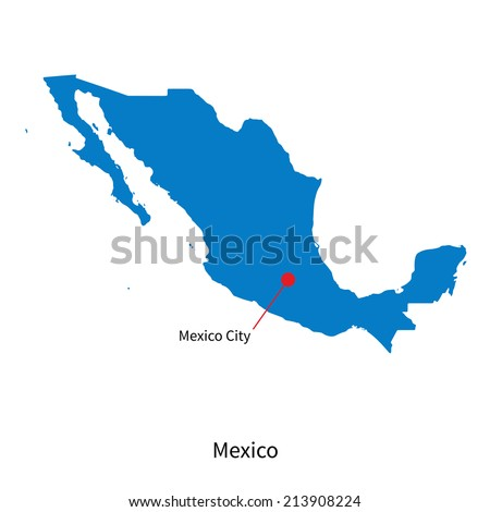 Detailed vector map of Mexico and capital city Mexico