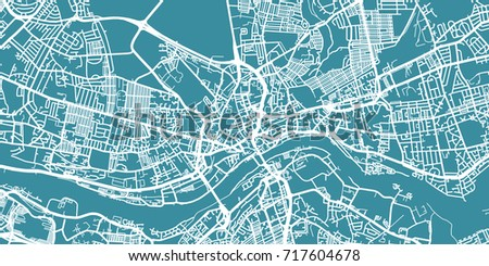 Detailed vector map of Newcastle, scale 1:30 000, England, UK