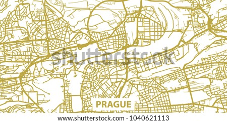 detailed vector map of prague