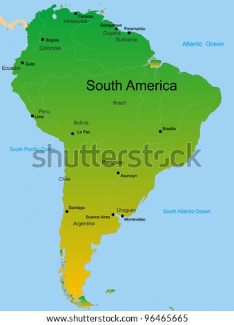 Detailed vector map of south america continent