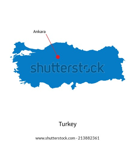detailed vector map of turkey