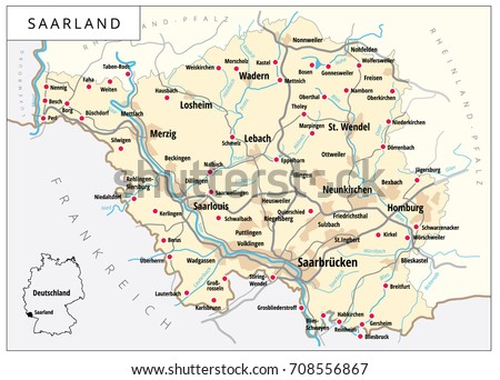 Saarbrucken Germany Map.Detailed Vector Map With Roads And Cities Of Saarland One Of The