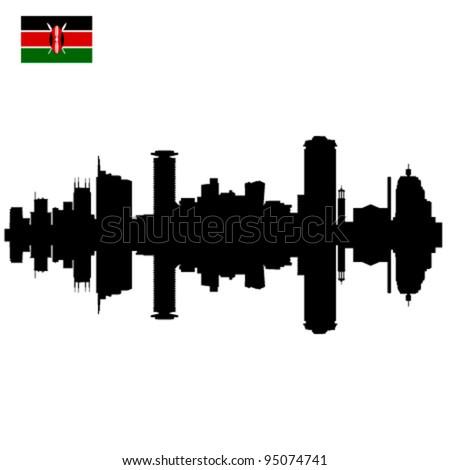 Detailed vector Nairobi silhouette skyline with Kenyan Flag - stock vector