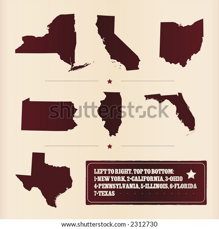 Detailed vector of 7 most populous USA states with a grungy frame. More states: image no. 3028055.