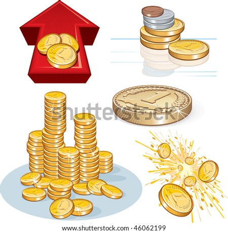 Detailed vector Pile of gold coins and other money theme symbols.