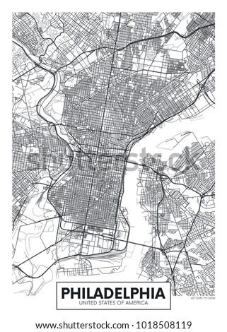 Detailed vector poster city map Philadelphia
