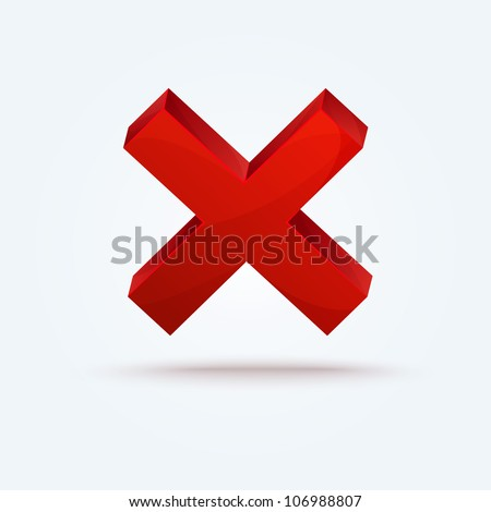 Detailed vector red cross icon with shadow isolated on white background