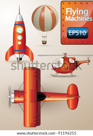 Detailed Vector set of Flying Machines