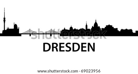 detailed vector silhouette of Dresden, Germany