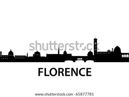 detailed vector silhouette of Florence, Italy