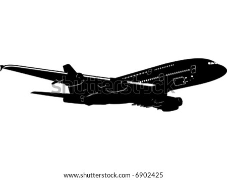 Detailed vector silhouette of passenger jetliner More vector airplanes see in my portfolio