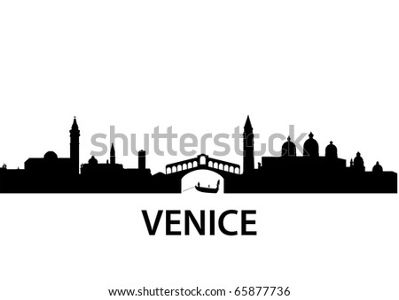 detailed vector silhouette of Venice, Italy