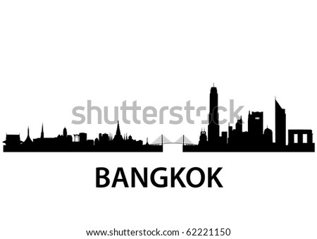 detailed vector skyline of Bangkok
