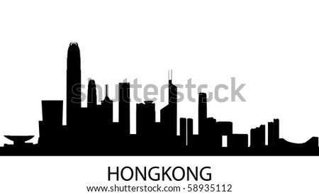 detailed vector skyline of Hongkong, China