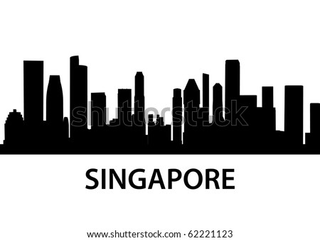 detailed vector skyline of Singapore