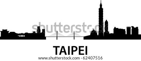 detailed vector skyline of Taipei