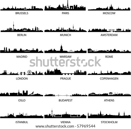 detailed vector skylines of European cities - stock vector