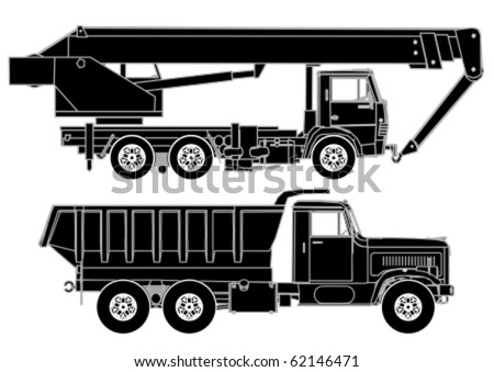 Detailed Vector trucks silhouettes set