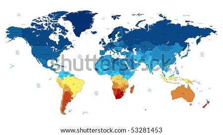 Detailed vector World map of blue and yellow colors. Names, town marks and national borders are in separate layers. #53281453