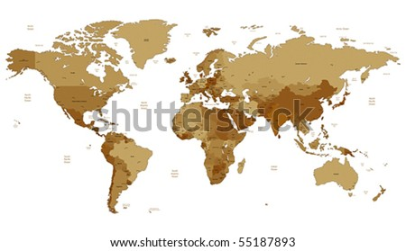 Detailed vector World map of brown sepia colors. Names, town marks and national borders are in separate layers.