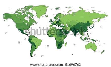 Detailed vector World map of green colors. Names, town marks and national borders are in separate layers.