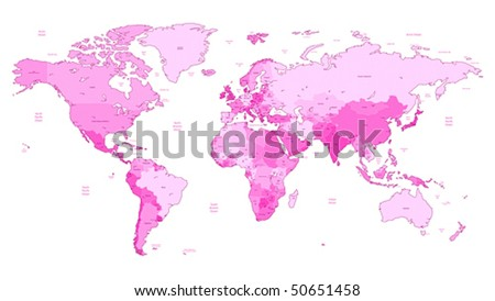 detailed vector world map of