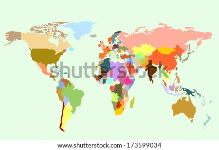 Detailed vector World map of rainbow colors.  #173599034