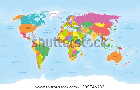 Detailed vector world map with names in french. French texts. Vector illustration.